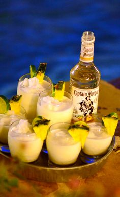 Poolside Captain Morgan cocktails to kick off the night. #cocktail #recipe