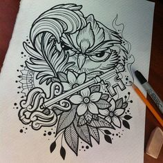 Owl Sketch - love the look and idea of this, not with an owl but with various pieces into one