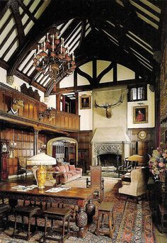 Stan Hywet Hall's Great Hall ~ Modeled after the great hall in Ockwells Manor, England, this three-story high room was the gathering place for family, guests and dignitaries. A stunning and timeless use of space within both high status & vernacular buildings.