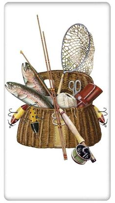 Trout Fishing Creel 100% Cotton Flour Sack Dish Towel Tea Towel