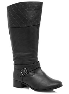 Evans Black Quilted Riding Boots - Long Boots  - Shoes