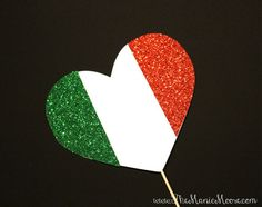 Photo Booth Props GLITTERY Italian Flag Heart by TheManicMoose
