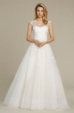 Illusion Princess/Ball Gown Wedding Dress  with Natural Waist in Tulle. Bridal Gown Style Number:33269994