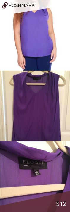 Eloquii Perfect Shell top This top was made for layering! Looks sleek under a blazer or with skinny black pants. EUC, worn and washed twice. Needs ironing about every two wears. Eloquii Tops