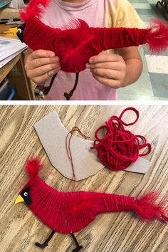 Cardboard and Yarn project | Yarn wrapped Cardinal | Fiber art | Yarn projects