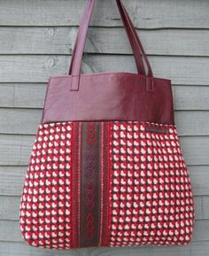 Red multi-dot on red wool bag - fab!