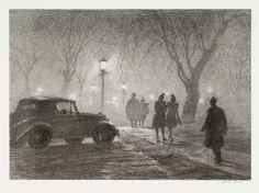 Misty Night, Danbury 1947--Martin Lewis