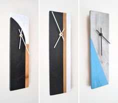 These wood clocks are made from reclaimed pieces of wood and painted geometrically to give them a new life and a modern look. Wall Clock Wooden, Wood Clocks, Wooden Walls, Diy Clock, Clock Decor, Modern Clock, Modern Wall, Pendulum Wall Clock, Wall Clock Design