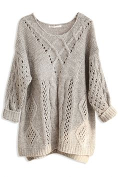 #Loose Hollow Solid Cable #Knit #Sweater - OASAP.com ★ 30 % OFF All New Arrivals for Thanksgiving