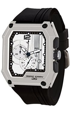 Jorg Gray JG7100-22 Men's Watch Chronograph Integrated Silicone Strap Silver Dial Rectangular Case by Jorg Gray -- Awesome products selected by Anna Churchill