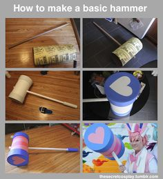 "thesecretcosplay: ""For this project you will need: • Rigid Cardboard tube Get them from any fabric store, particularly on recycling day. • Builders tube 12"" Hardware stores everywhere • Puzzle Mats Or..."