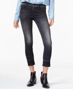 Hudson Jeans Zooey High-Rise Released-Hem Jeans - Black 32
