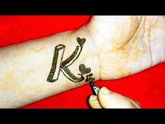 Fancy 'K' Letter Henna Tattoo Tattoo Alphabet, Alphabet Tattoo Designs, Henna Tattoo Designs, Mehndi Designs, Henna Mehndi, Henna Art, Mehendi, K Tattoo, Body Art Tattoos
