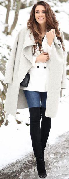 #winter #fashion / gray coat + denim