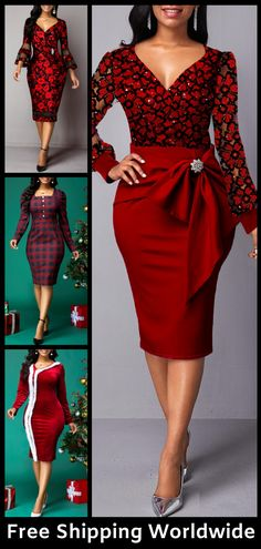 Cheap red Dresses online for sale Party Dresses For Women, Holiday Dresses, Christmas Dress Women, Christmas Fashion, Fall Fashion Outfits, Autumn Fashion, Women's Fashion, African Fashion Dresses, Simple Dresses