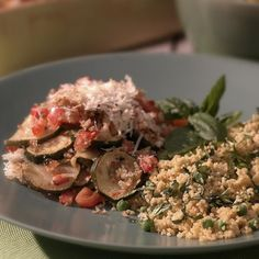 Two of summer's stellar vegetables are layered here, along with a few other choice ingredients, to make a delicious baked gratin. As soon as it's pulled from the oven, fresh Parmesan cheese is sprinkled over the top.
