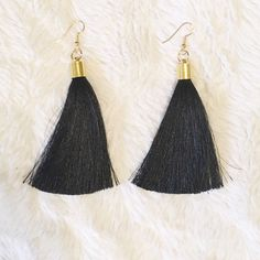 Black Fringe Tassel Earrings These are perfect to wear with your busy dress that you're undecided on how to accessorize! Totally obsessed with these! Southern Lush Boutique Accessories