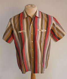1950's Striped Silk Shirt - Size XL