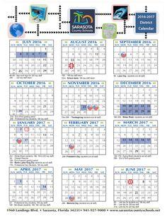 2016 - 2017 Sarasota County Schools Calendar : School - school - Gocio Elementary School