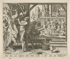Philips Galle | Het vetgemeste kalf wordt geslacht, Philips Galle, Hieronymus Cock, 1562 | Ter ere van de thuiskomst van de verloren zoon wordt een vetgemest kalf geslacht. Op de binnenplaats danst de verloren zoon met de gasten. Een lange tafel staat klaar voor het feestmaal.
