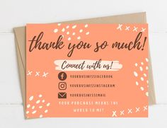 Thank You Cards From Kids, Printable Thank You Cards, Thank You Card Template, Thank You Note Cards, Wedding Thank You Cards, Card Templates, Thank You Card Design, Name Card Design, Thank You Customers