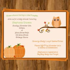 INVITATION IDEA ALERT!  Because the shower is in autumn & my baby will be born in October. Hence, pumpkin!  Owl Autumn Baby Shower Invitations  Fall by TheInviteLadyShop, $6.65