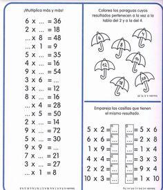 250 FICHAS PARA TRABAJAR LAS TABLAS DE MULTIPLICAR – Imagenes Educativas Multiplication Facts Worksheets, Kids Math Worksheets, Math Resources, Multiplication Sheets, Fractions, Math Games, Math Activities, Math Exercises, Teachers Corner