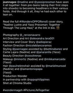 Yassi Pressman, Photoshoot Bts, Nadine Lustre, Ig Post, Magazine, Reading, Magazines, Reading Books, Warehouse