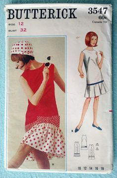 Vintage 1960s Butterick 3547 Beachdress & Hat Pattern - Size 12, Misses or Teen Sleeveless Drop Waist Dress, Box Pleated or Gathered Flounce $20.00