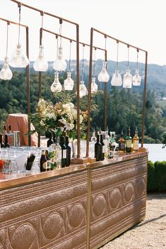 We loved this amazing copper top bronzed bar at the reception - The pendant lights sparkled in the sun and glowed after dark. What better way to have your favorite cocktail handed to you than over this beauty? Wedding Set Up, Cute Wedding Ideas, Dream Wedding, Diy Wedding Bar, Wedding Inspiration, Italian Wedding Themes, Bar Set Up, Tuscan Wedding, Event Design