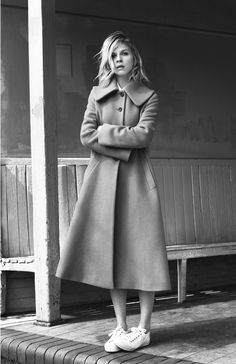Chic Style - wool coat & sneakers // Clemence Poesy for Pablo Gerard Darel A/W 2014