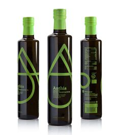Anthia Extra Virgin Olive Oil by The Comeback. I like the modern feel of this bottle design. The green swatch is also a bold choice that works well with the design.