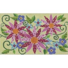 Item# 2373, Floral Handpainted needlepoint kit on 13 mesh cotton canvas.  SKU: AP2373. Category: 2013 Handpainted, Floral.