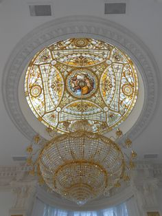 Stained carved glass DOME by France Vitrail International Paris, FRANCE