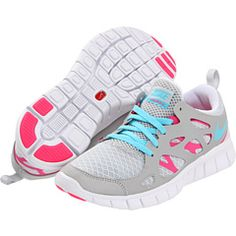 Nike Kids Free Run 2.0. $75. Favorite tennis shoes ever, liking the grey/pink/blue combo
