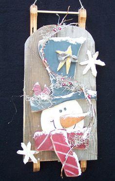 Barn Wood Snowman Sled Wood Craft Pattern by KaylasKornerDesigns, $7.50