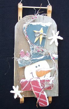 Barn Wood Crafts | Barn Wood Snowman Sled Wood Craft Pattern for Winter or Christmas