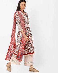 3756016173 Buy Biba Women Off-White & Red Floral Printed Kurta Suit Set | AJIO