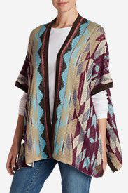 Women's Geometric Poncho Sweater