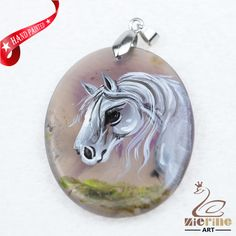 Hand Painted Horse Agate Slice Gemstone Necklace Pendant Jewlery D1705 1361 #ZL #Pendant