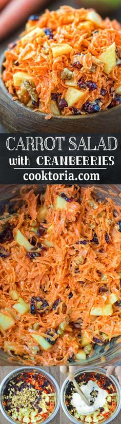 This easytomake flavorful and healthy Shredded Carrot Salad packed with cranberries apples and toasted walnuts is loved by both kids and adults Carrot Salad Recipes, Healthy Salad Recipes, Vegetarian Recipes, Veggie Dishes, Vegetable Recipes, Food Dishes, Vegetable Salad, Side Dishes, Cranberry Salad