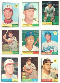 LOT OF NINE 1961   TOPPS Baseball Cards Includes Don Zimmer and Rookies Included