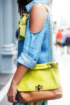 NYC #streetstyle Charley shirt, #Lanvin bag, and #CitizensOfHumanity pants