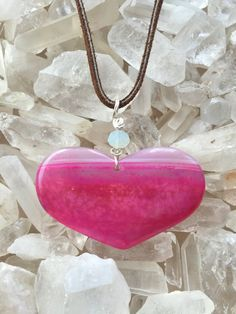 Valentines Day Boho Necklace Hot PINK Agate Stone by IndioAzul
