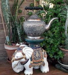 Antique Silver Washed Copper Indian Teapot Tea Pot Engraved Ornate Tiffin Raj | eBay