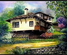 Country Home ~ by Iovka Mechkarova Easy Landscape Paintings, Landscape Photos, Landscapes, Alien Art, Acrylic Painting Techniques, Art Case, Building Art, Turkish Art, Naive Art
