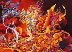 """""""Cases à nier"""" Acrylique / papier (58 x 42) 31/08/2004"""