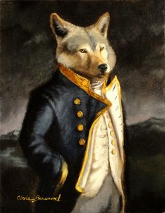 "Wolf Art -Animal portrait- Sailor ""A Gentleman of Merit"" by Olivia Beaumont 2012"