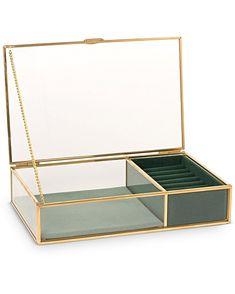 Gold & Glass Green Velvet Jewellery Box Small Informations About Gold & Glass Green Velvet Jewelry B Glass Jewelry Box, Jewellery Boxes, Jewellery Storage, Jewellery Display, Jewelry Organization, Jewelery, Small Jewelry Box, Diy Jewelry Organizer Box, Ring Organizer