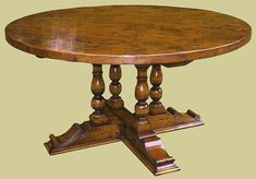 Oak Round Dining Table Carved Base